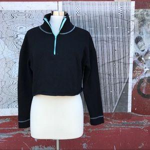 Wild Fable Black Cropped Sweatshirt Aqua Details